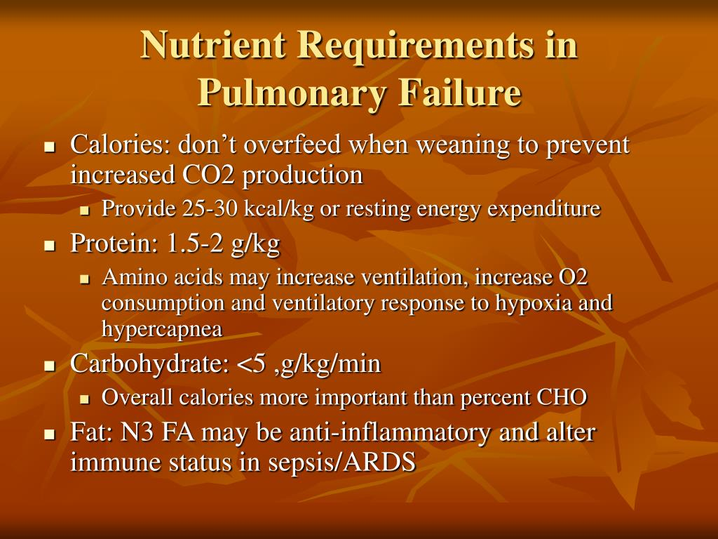 Nutrient Requirements in Pulmonary Failure