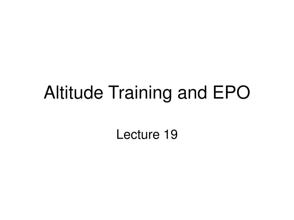altitude training and epo l.