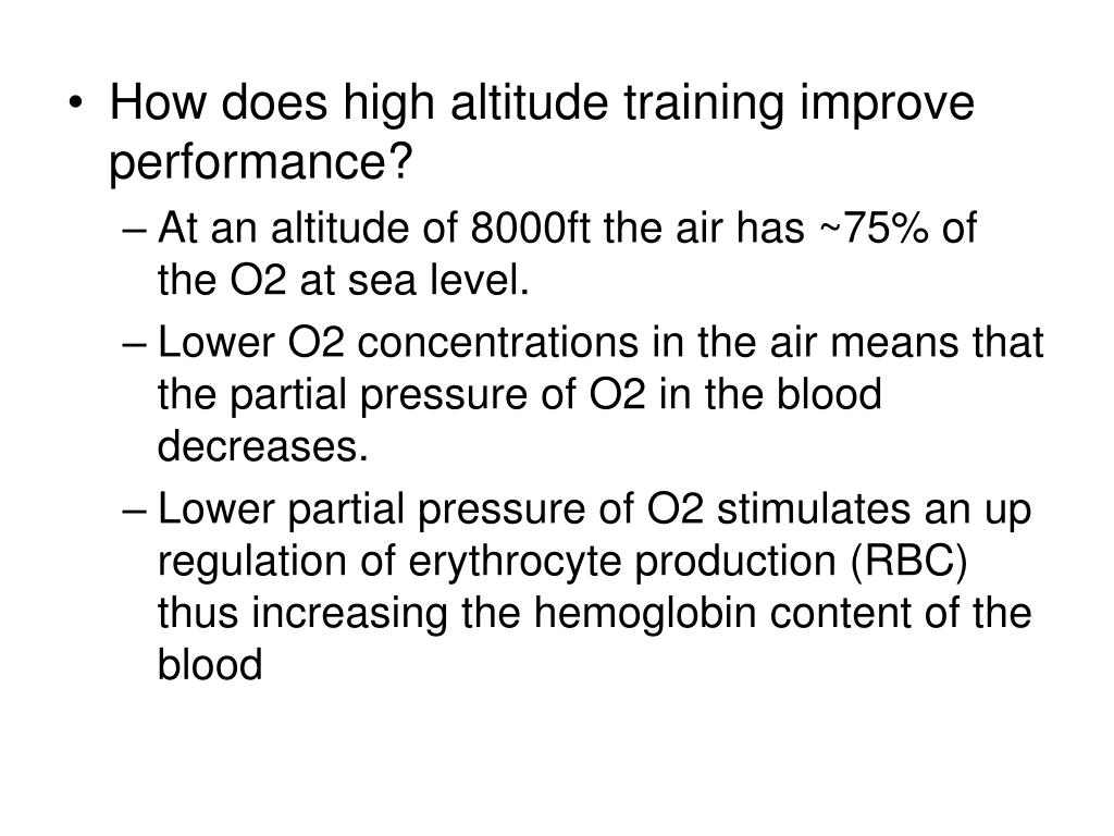 How does high altitude training improve performance?