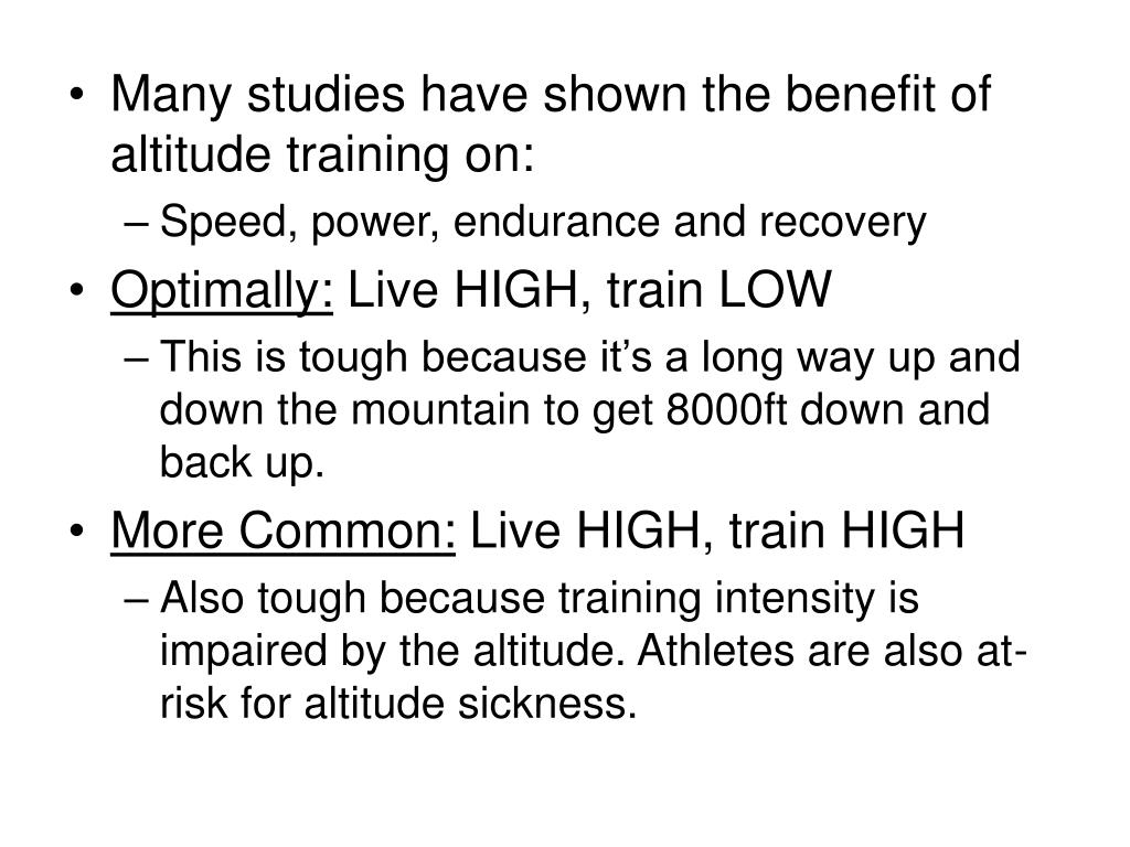 Many studies have shown the benefit of altitude training on: