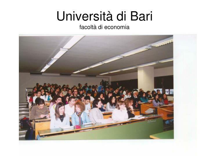 Universit di bari facolt di economia