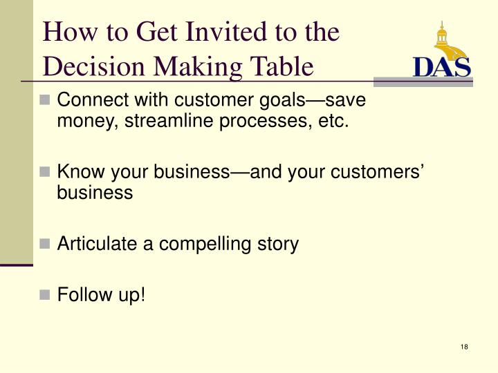 How to Get Invited to the  Decision Making Table