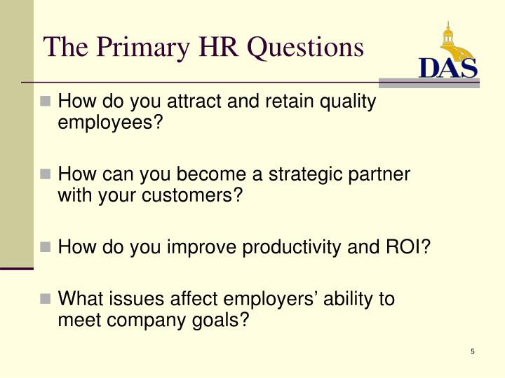 The Primary HR Questions