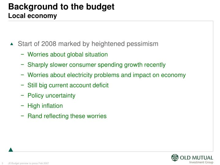 Background to the budget local economy