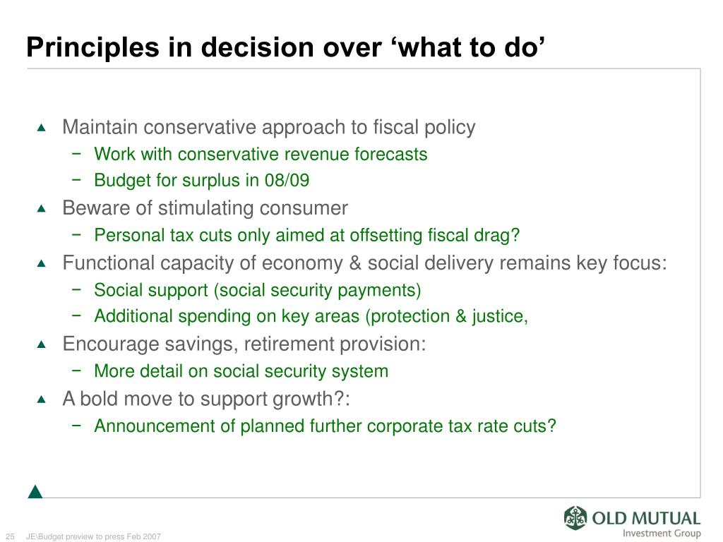Principles in decision over 'what to do'