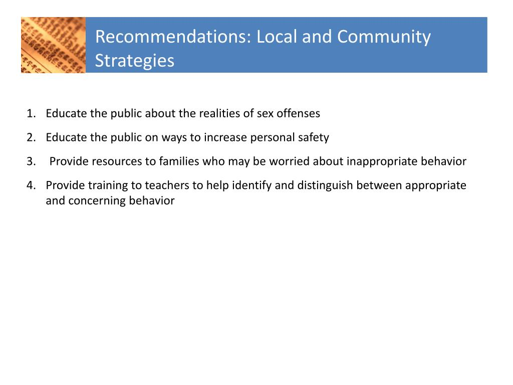 Recommendations: Local and Community Strategies