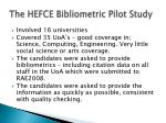 the hefce bibliometric pilot study