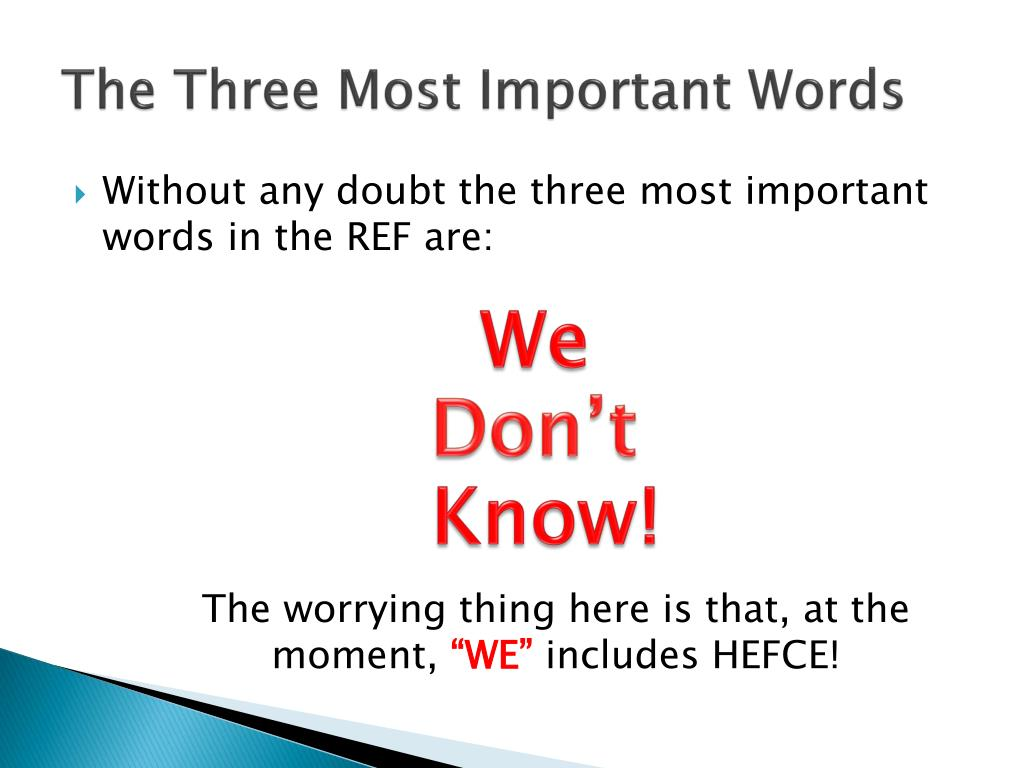 The Three Most Important Words