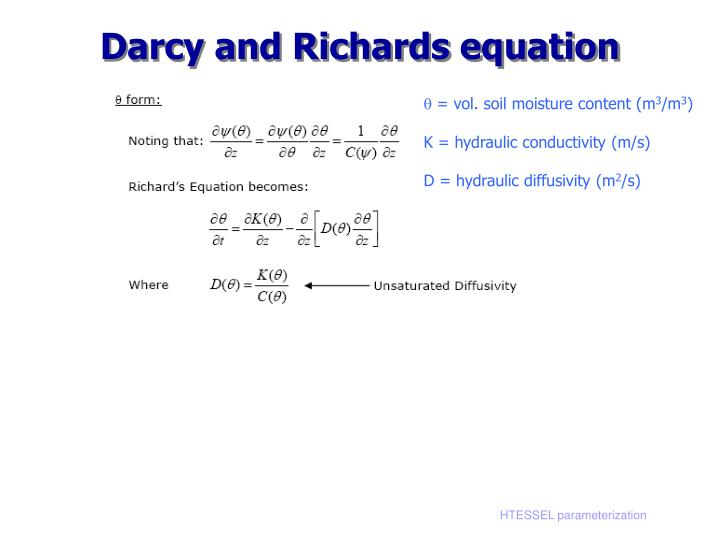 Darcy and Richards equation