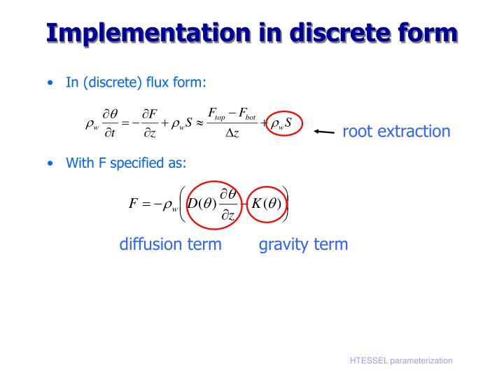 Implementation in discrete form
