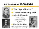 ad evolution 1900 1920