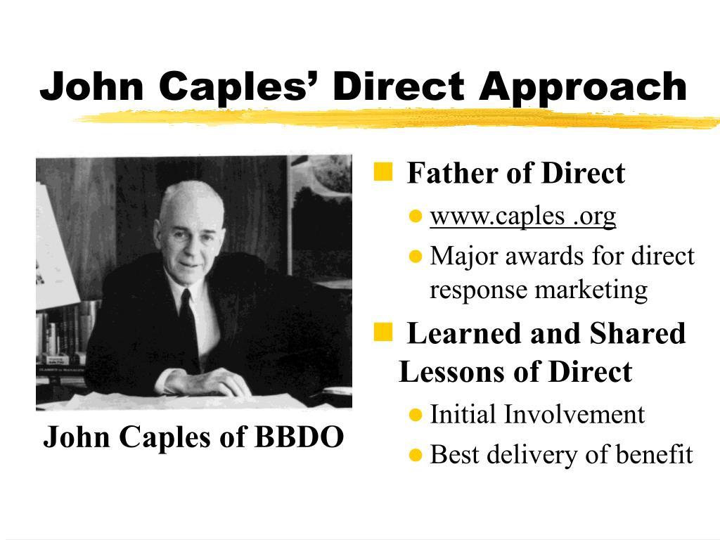 John Caples' Direct Approach