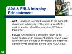 ada fmla interplay reinstatement