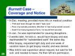 burnett case coverage and notice