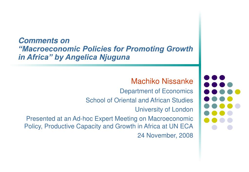 comments on macroeconomic policies for promoting growth in africa by angelica njuguna l.
