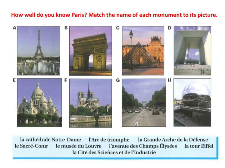 How well do you know Paris? Match the name of each monument to its picture.