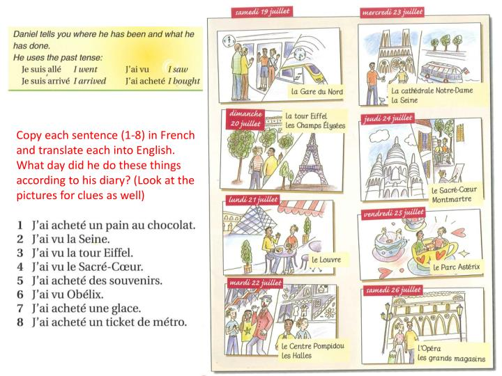 Copy each sentence (1-8) in French and translate each into English.