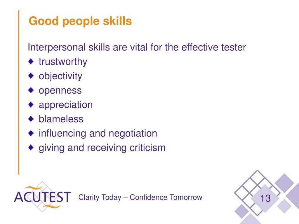 Good people skills