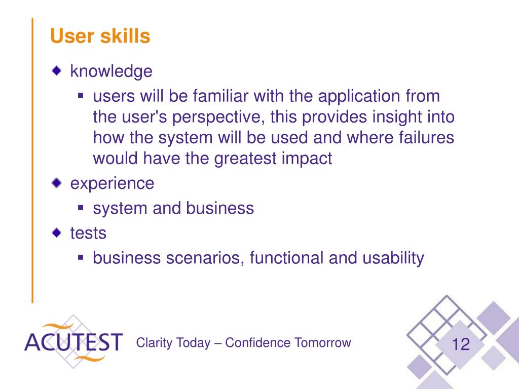 User skills