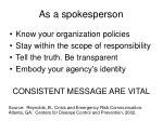 as a spokesperson