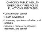 ongoing public health emergency response functions and tasks1