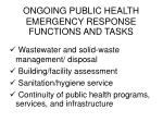 ongoing public health emergency response functions and tasks6