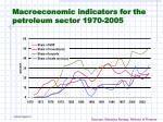 macroeconomic indicators for the petroleum sector 1970 2005