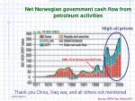 net norwegian government cash flow from petroleum activities