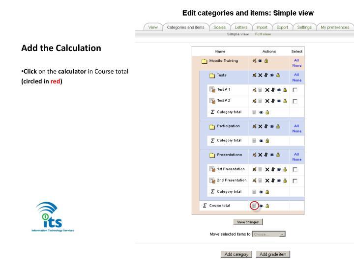 Add the Calculation