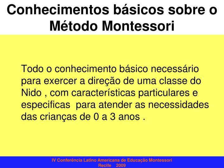 Conhecimentos básicos sobre o Método Montessori