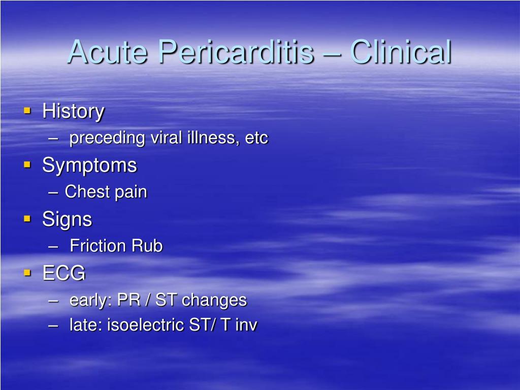 Acute Pericarditis – Clinical