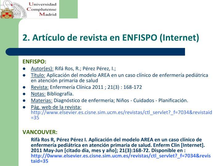 2. Artículo de revista en ENFISPO (Internet)