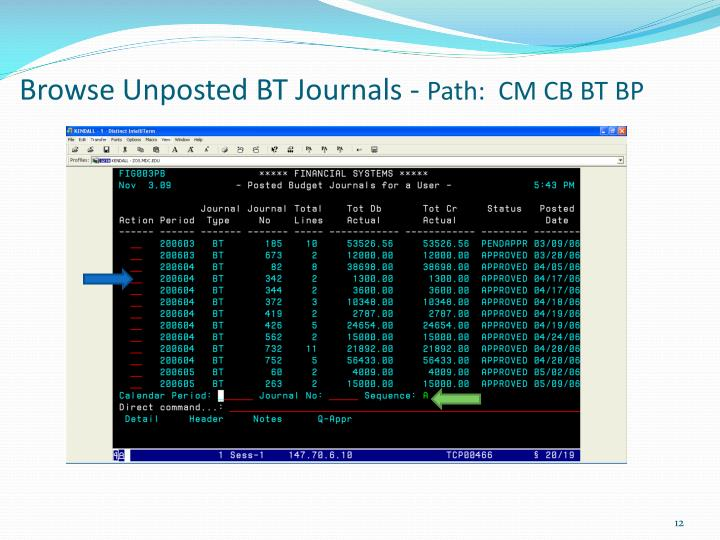 Browse Unposted BT Journals -
