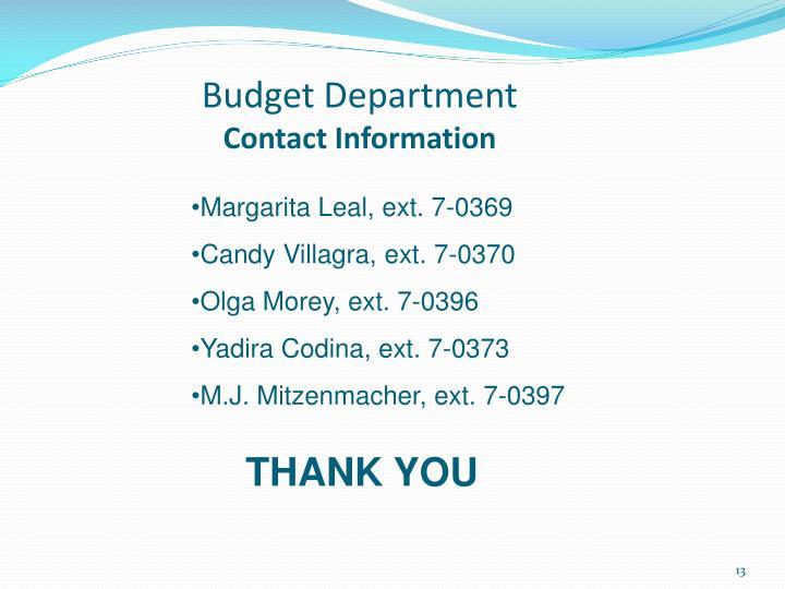Budget Department