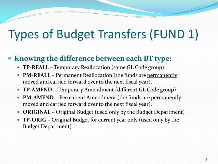 Types of budget transfers fund 1