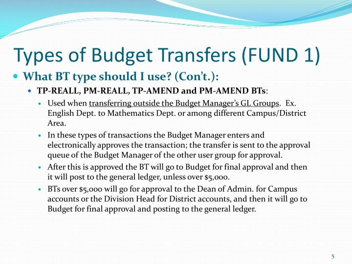 Types of Budget Transfers (FUND 1)