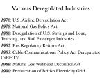 various deregulated industries