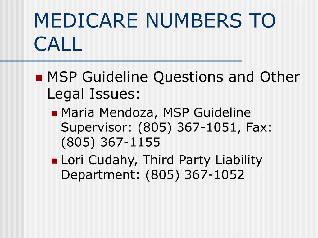 MEDICARE NUMBERS TO CALL