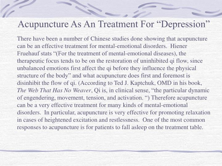 """Acupuncture As An Treatment For """"Depression"""""""