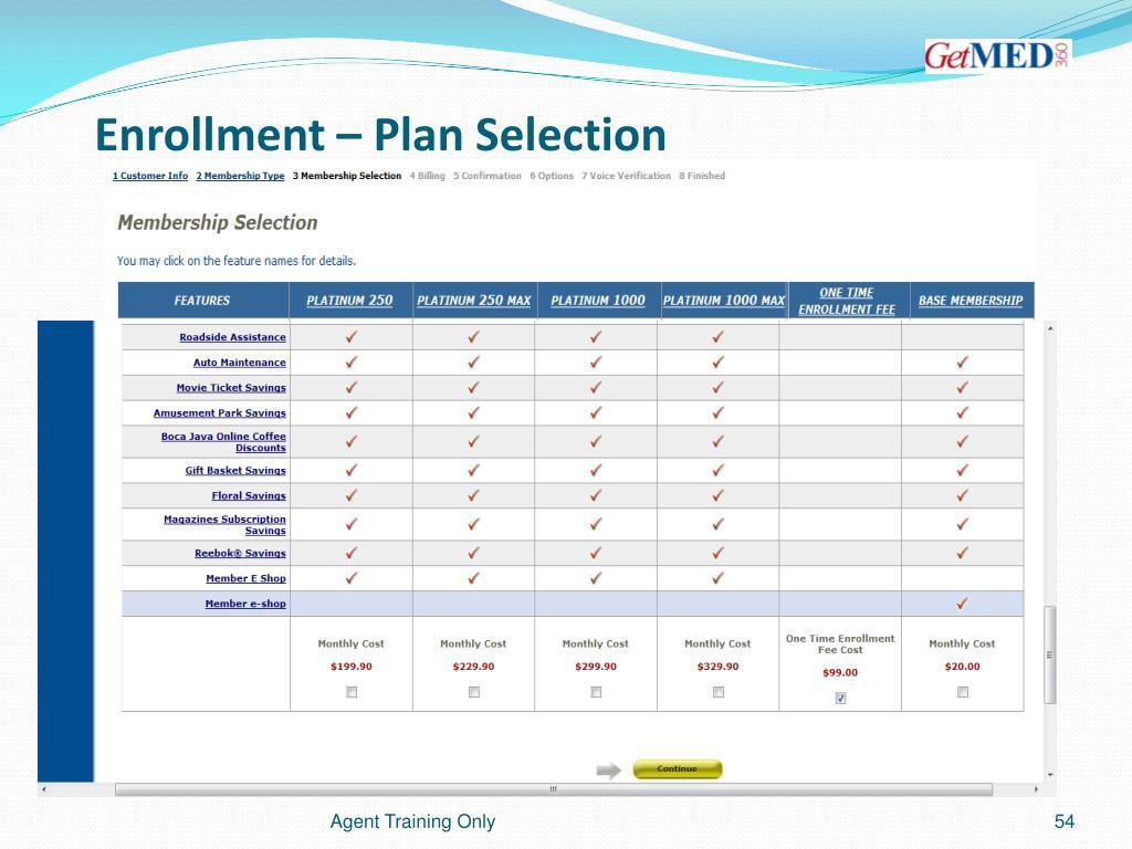Enrollment – Plan Selection