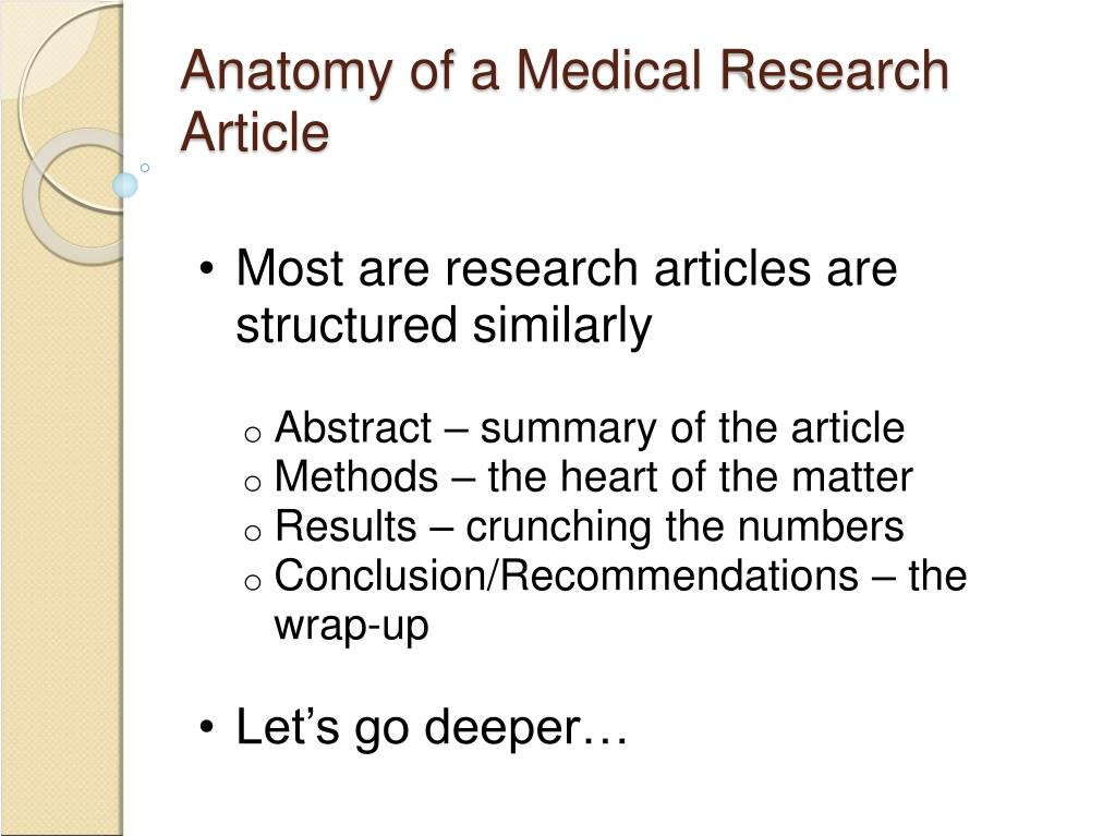 Anatomy of a Medical Research Article