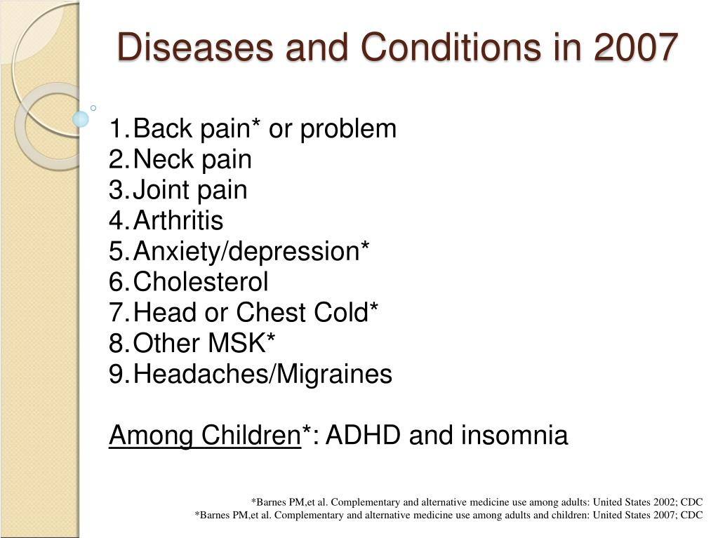 Diseases and Conditions in 2007