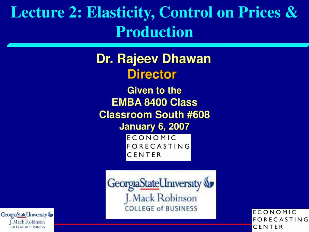 lecture 2 elasticity control on prices production l.