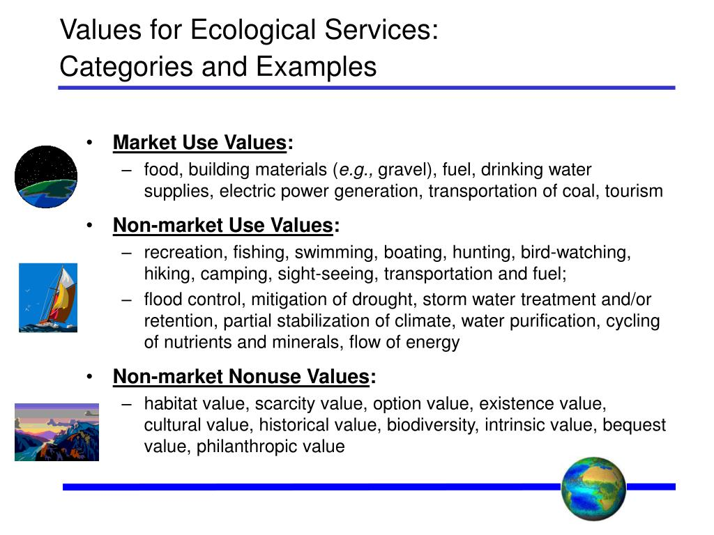 Values for Ecological Services: Categories and Examples