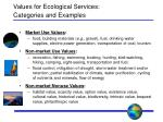 values for ecological services categories and examples