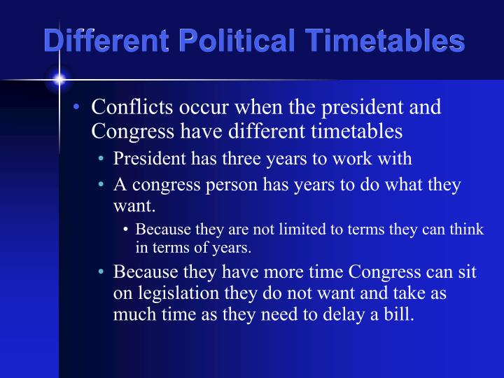 Different Political Timetables