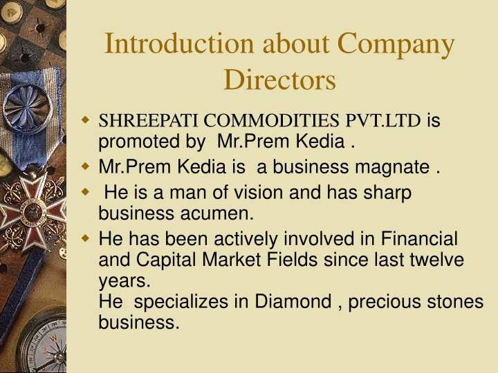 Introduction about company directors