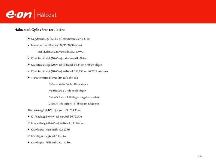 Hálózatok Győr város területén:
