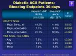 diabetic acs patients bleeding endpoints 30 days