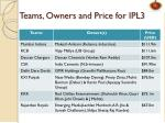 teams owners and price for ipl3